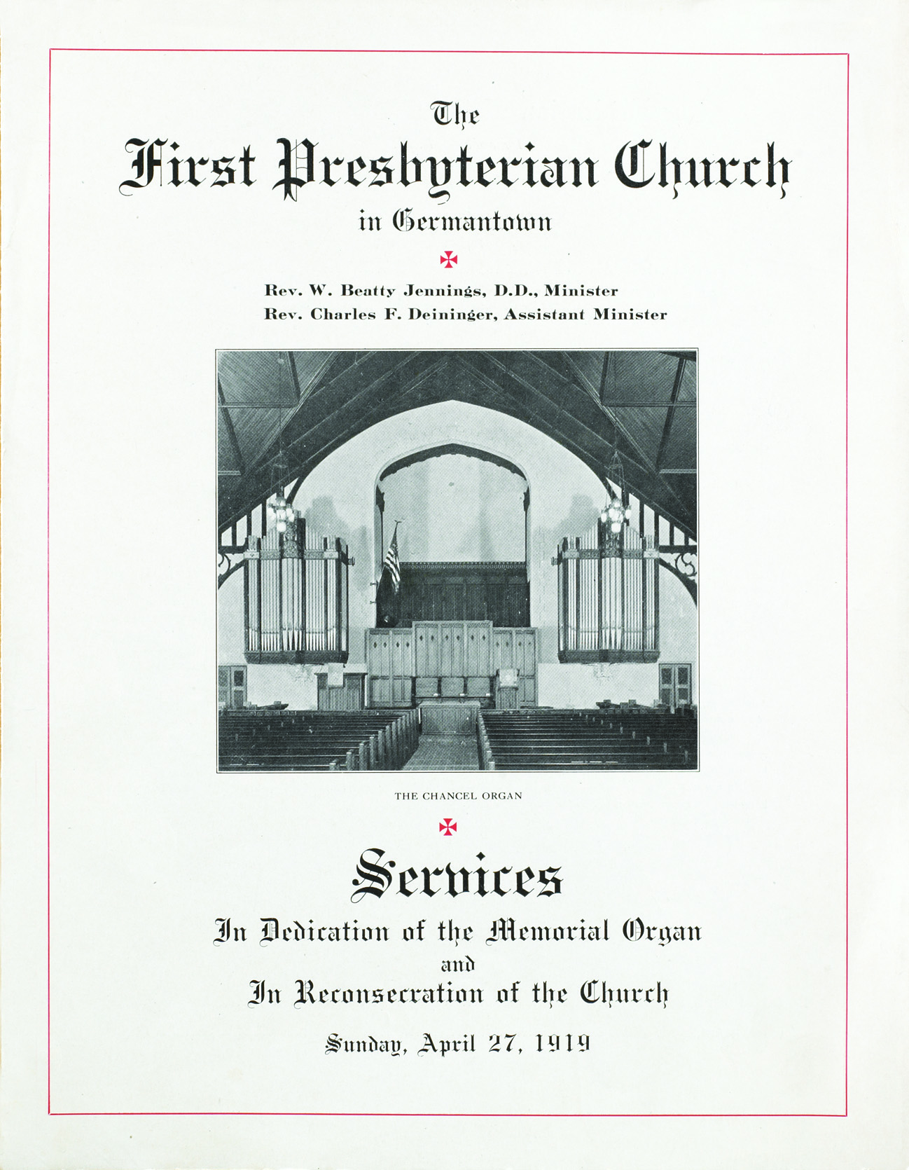 1919 Dedication Program